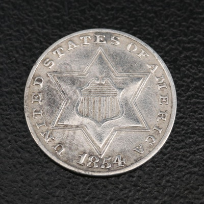 """1854 3-Cent """"Trime"""" Silver Coin"""