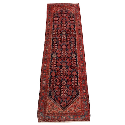 3'4 x 11'7 Hand-Knotted Persian Hamadan Long Rug, Early to Mid-20th Century