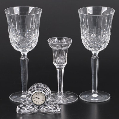 "Waterford Crystal ""Kelsey"" Water Goblets with Candlestick and Clock"