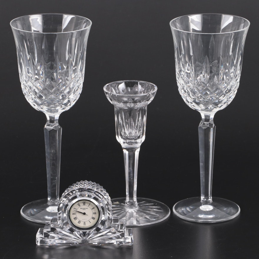 """Waterford Crystal """"Kelsey"""" Water Goblets with Candlestick and Clock"""
