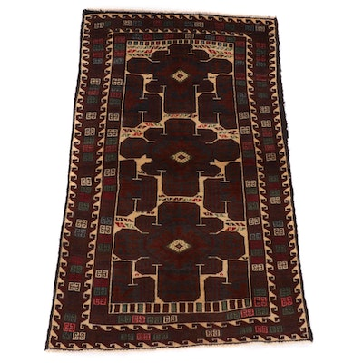 2'10 x 4'5 Hand-Knotted Afghan Baluch Accent Rug