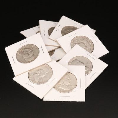 Ten Franklin Silver Half Dollars
