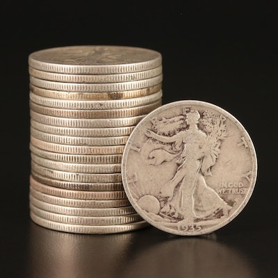 Twenty Walking Liberty Silver Half Dollars