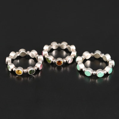 Sterling Silver Chalcedony, Tourmaline and Apatite Eternity Bands