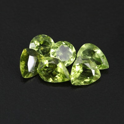 Loose 6.10 CTW Mixed Faceted Peridot Selection