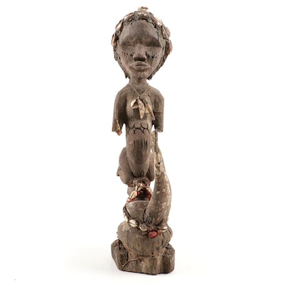 Dan Style Handcrafted Wooden Offering Figure, West Africa