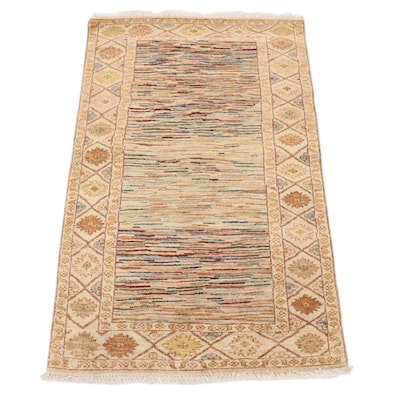 3'2 x 5'2 Hand-Knotted Afghan Gabbeh Area Rug, 21st Century