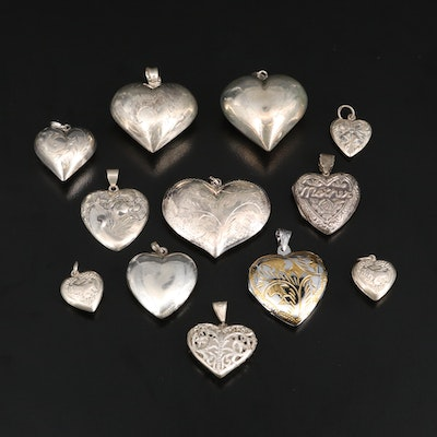 Sterling Silver Puffy Hearts and Locket Pendants