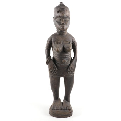 Mende Inspired Carved Wood Female Figure, Central Africa