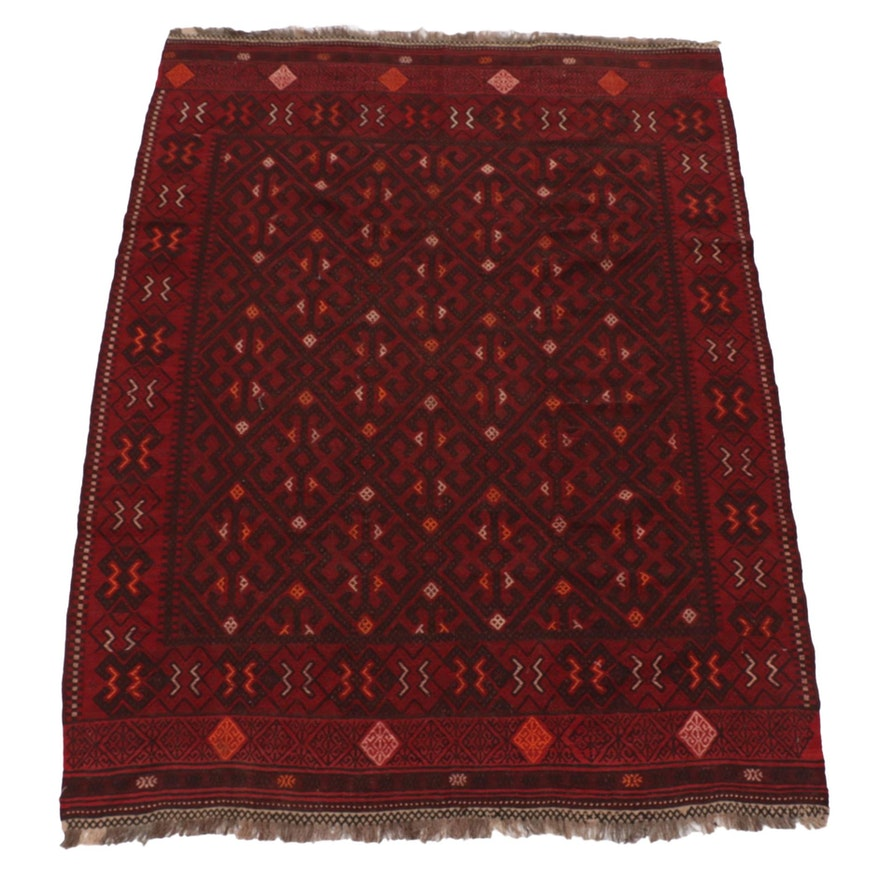 6'9 x 9'2 Handwoven Afghan Baluch Flatweave Area Rug