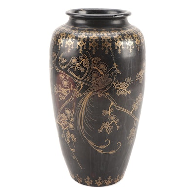 Japanese Ceramic Vase with Cherry Blossom Motif
