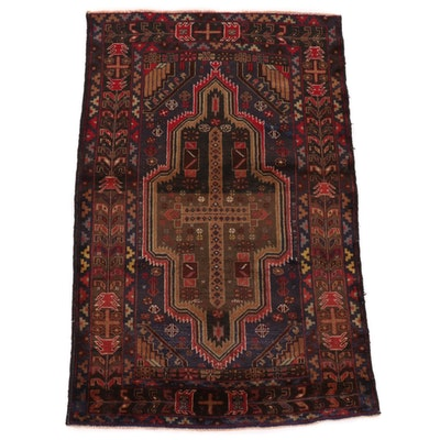 3'0 x 4'8 Hand-Knotted Afghan Turkmen Accent Rug, Late 20th Century