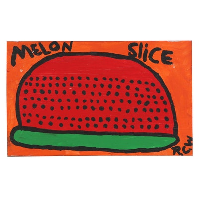 "Ruby C. Williams Folk Art Acrylic Painting ""Melon Slice,"" 1998"