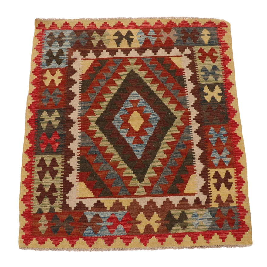 3'4 x 3'10 Handwoven Afghan Turkish Kilim Accent Rug