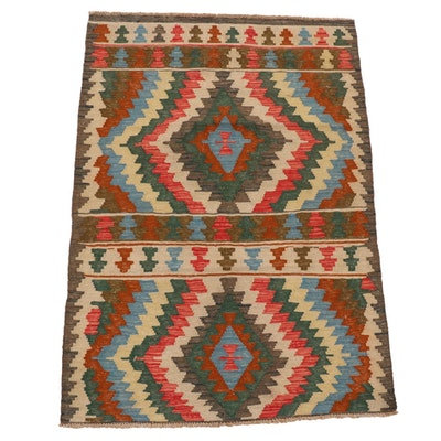 3'4 x 4'11 Handwoven Afghan Kilim Area Rug