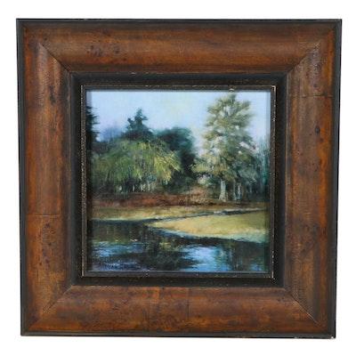 Embellished Offset Lithograph Landscape, 21st Century