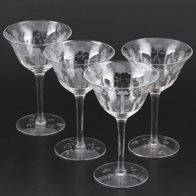 Etched Glass Cocktail Coupes, Mid-20th Century