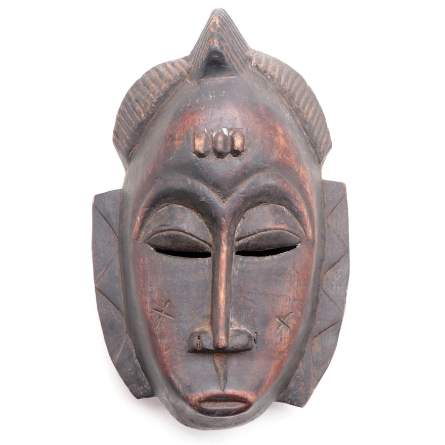 Baule Style Hand-Crafted Wood Mask, West Africa