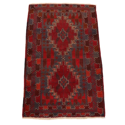 3'1 x 5'0 Hand-Knotted Afghan Baluch Area Rug