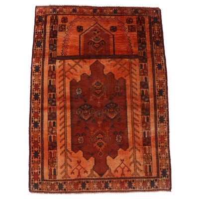 2'11 x 4'2 Hand-Knotted Afghan Turkmen Over-Dyed Accent Rug, Late 20th Century