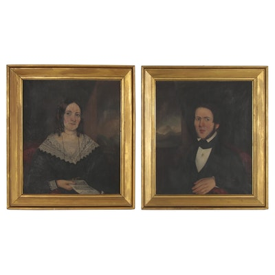 American School Oil Portraits of Seated Man and Woman, circa 1840