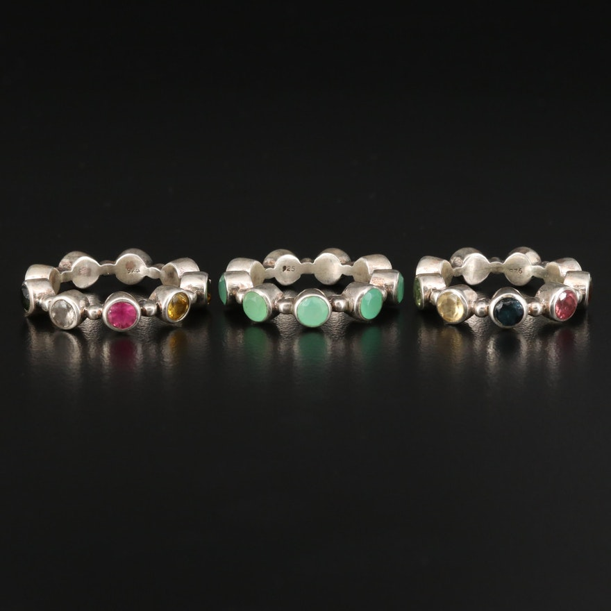 Sterling Multi-Gemstone Stacking Eternity Bands