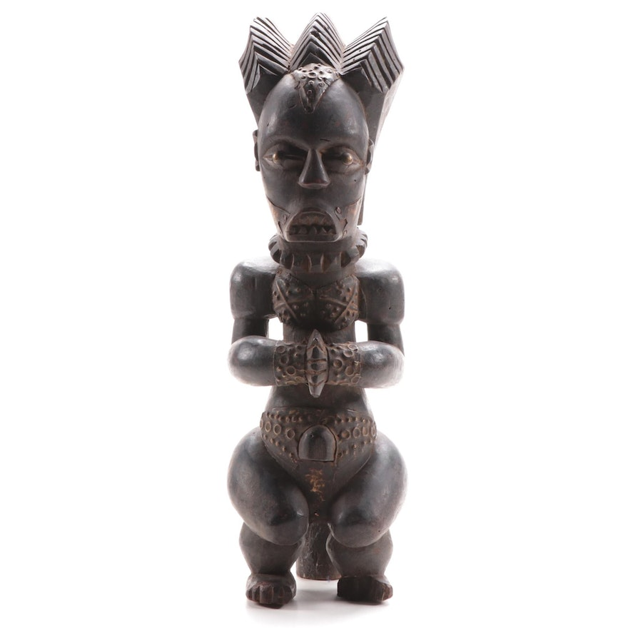 Fang Inspired Wooden Figure with Embellishments, Central Africa