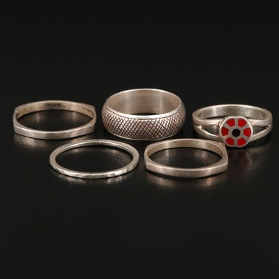 Sterling Bands and Enamel Floral Ring