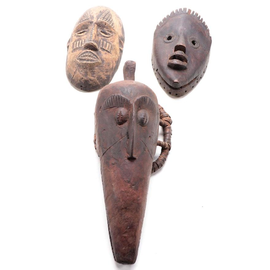 West African Carved Wooden Masks