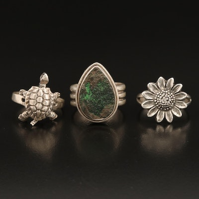 Sterling Articulating Turtle, Flower and Druzy Quartz Rings