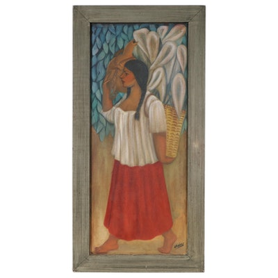 Portrait Oil Painting of Hispanic Woman Carrying Basket