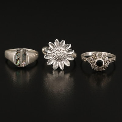 Sterling Silver Rings Featuring Marcasite, Abalone Inlay and Black Onyx