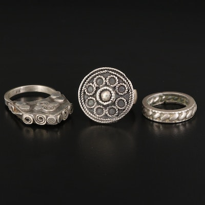 Rope Band with Sterling and 800 Silver Cannetille Rings