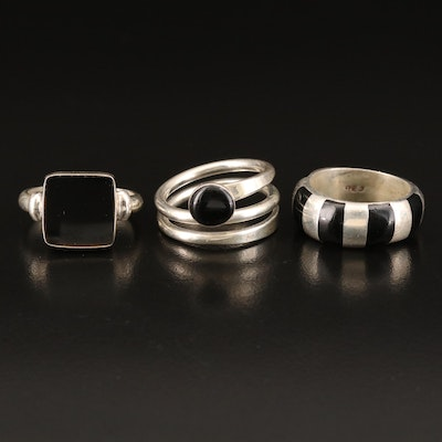 Sterling Black Onyx and Inlay Rings