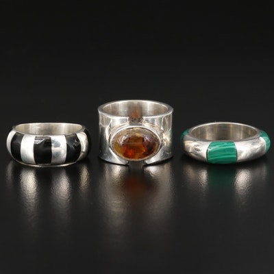 Mexican Sterling Silver East to West Amber Ring with Inlaid Bands