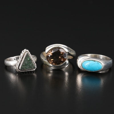 Sterling Silver Smoky Quartz, Druzy and Faux Turquoise Rings