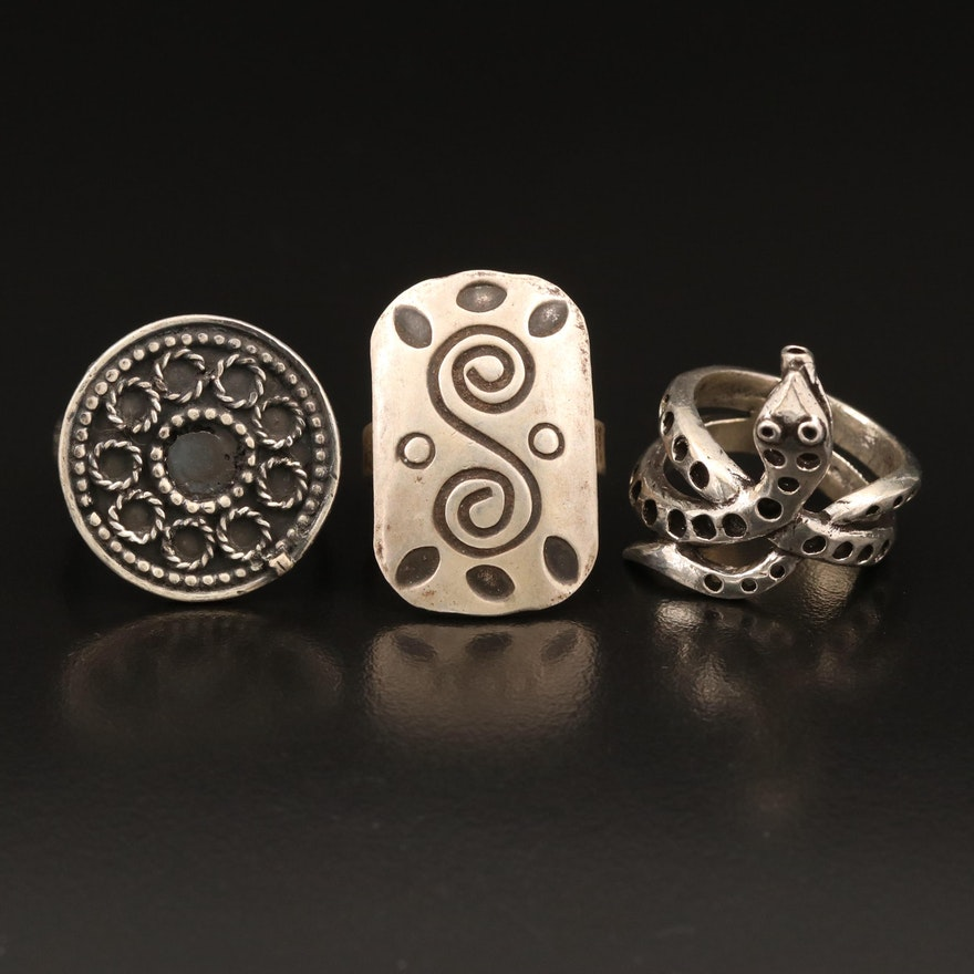 Sterling Coiled Snake Ring with Rectangular and Circular Rings