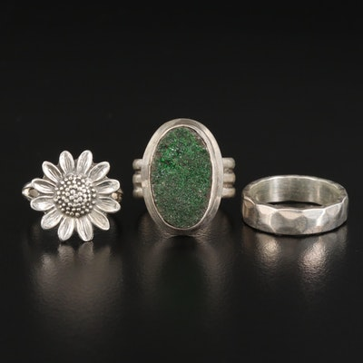 Sterling Silver Druzy Ring with Sunflower Ring and Hammered Band