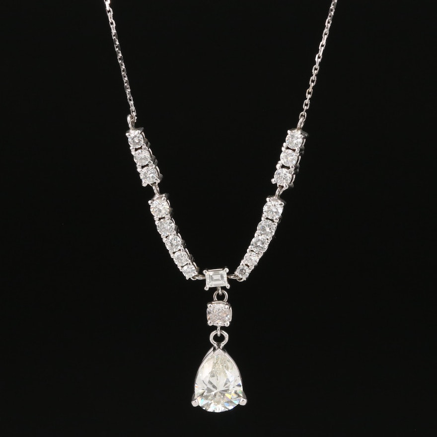 14K 3.31 CTW Diamond Necklace with GIA Report