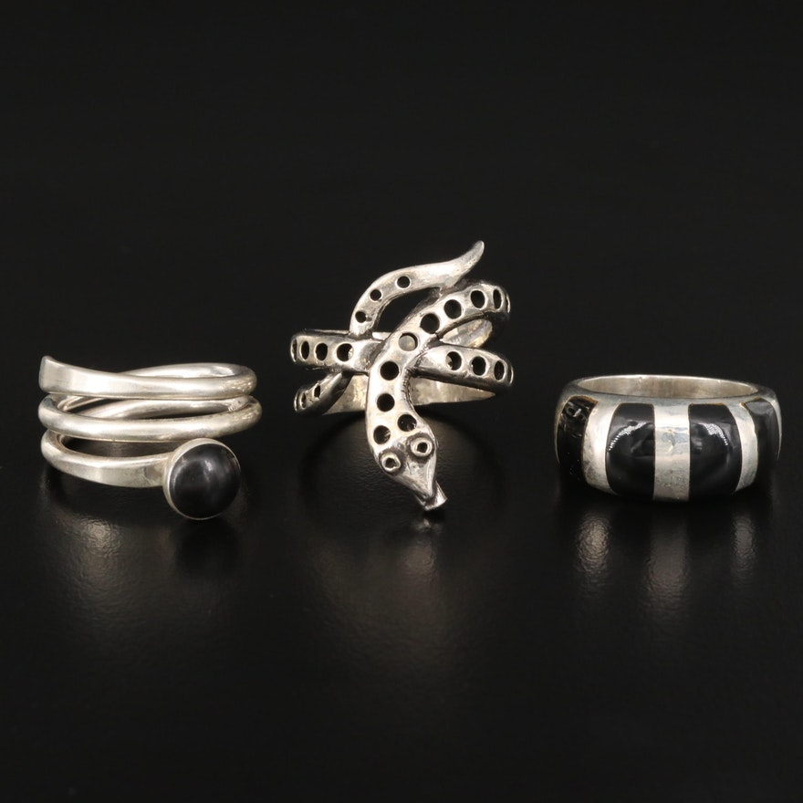 Sterling Silver Black Onyx and Resin Rings with Coiled Snake Ring