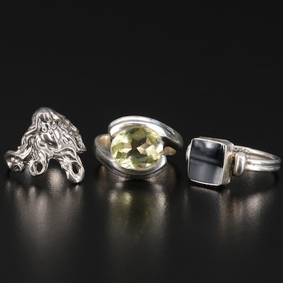 Sterling Silver Rings Featuring Citrine and Black Onyx