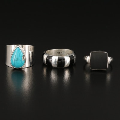 Selected Sterling Silver, Black Onyx and Turquoise Rings