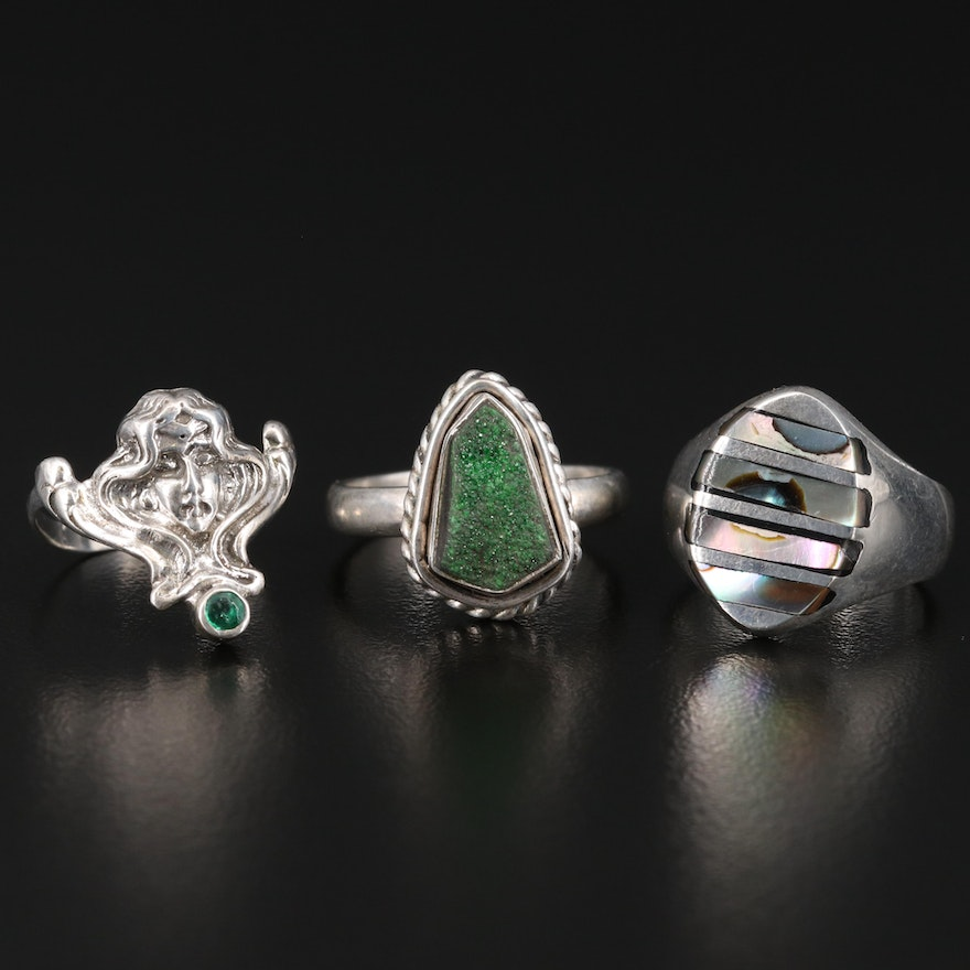 Sterling Silver Rings Featuring Art Nouveau Style