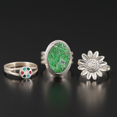 Sterling Silver Rings Including Druzy and Enamel