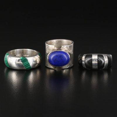 Sterling Silver Lapis Lazuli Ring with Inlaid Bands