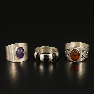 Sterling Rings and Band with Amber and Amethyst