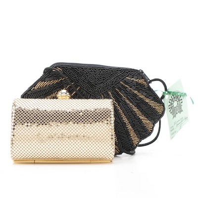 Caché Gold Tone Mesh Evening Clutch with Other Beaded Clamshell Shaped Purse