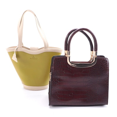 Park Ave Collection and Debra Lewis Top Handle Faux Leather Bags