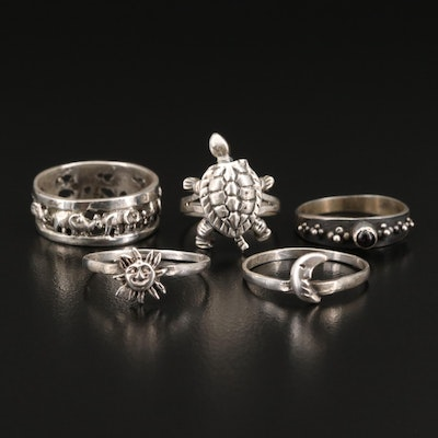 Sterling Rings Featuring Garnet and Articulated Turtle