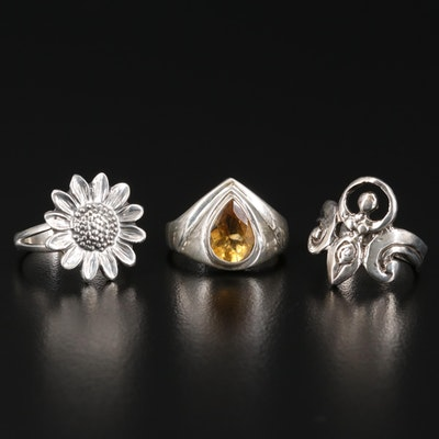 Sterling Silver Rings Featuring Citrine